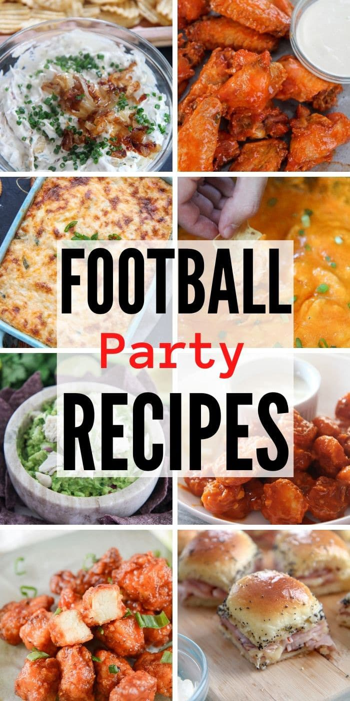 football party recipes collage with 8 photos.