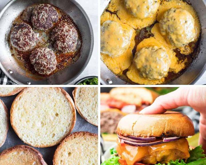 photo collage with four photos showing how to cook cheeseburgers step by step.