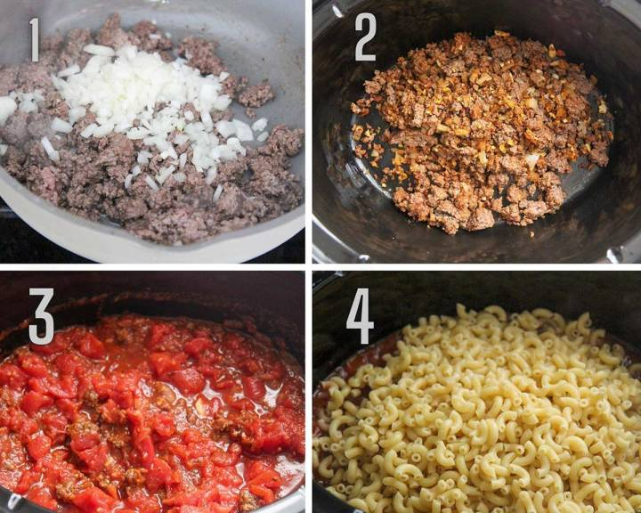A collage with four photos showing how to make goulash.