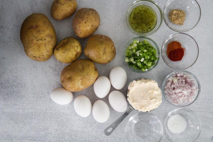 Ingredients for Southern potato salad.