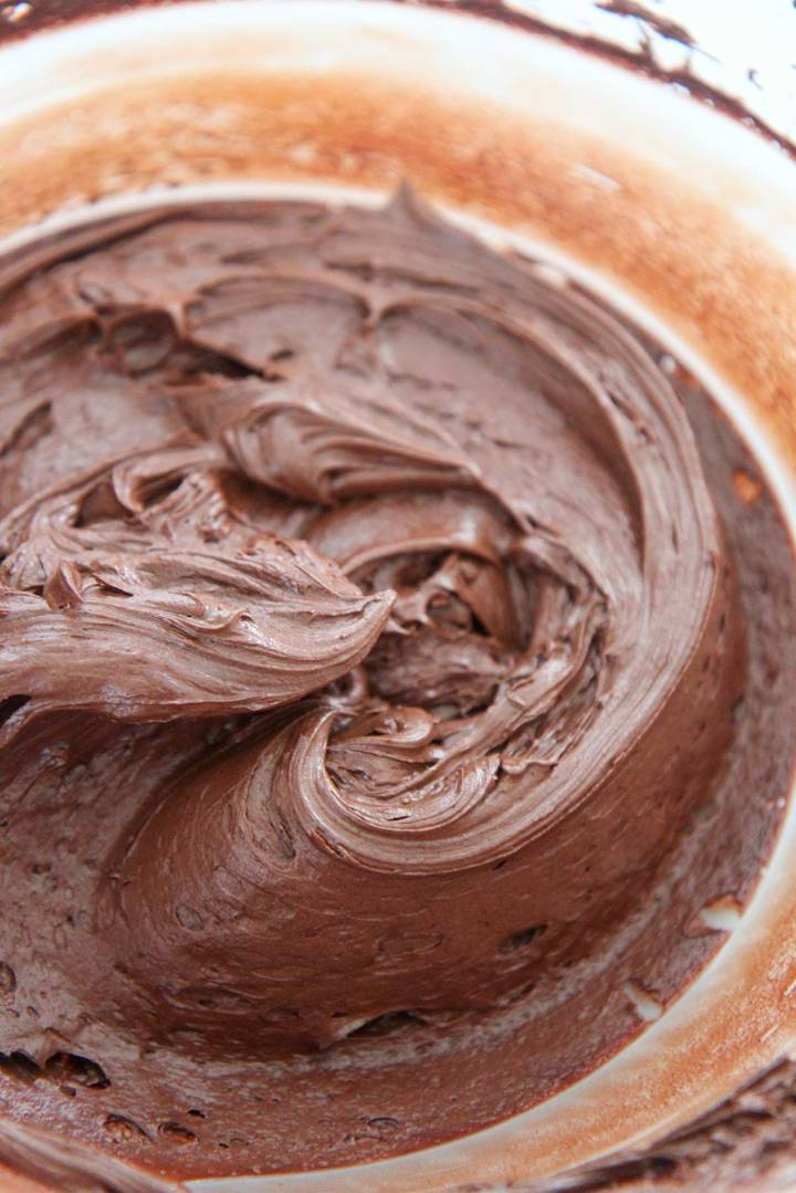 chocolate buttercream frosting in a bowl.