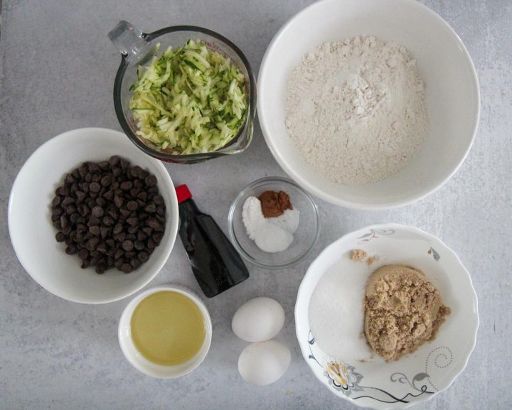 ingredients for zucchini chocolate chip muffins.