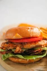 spicy grilled chicken sandwich up close.