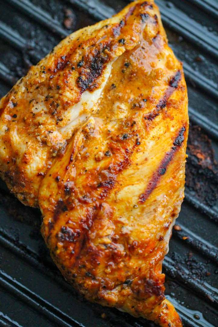 chicken on a grill.