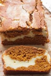 cream cheese pumpkin bread up close.