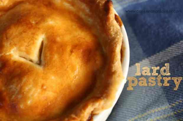 lard pastry, savoury pies, golden flaky pastry, blue tablecloth