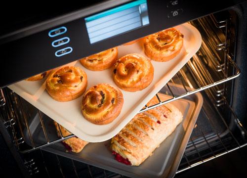 Rangemaster built-in oven cooking pastries