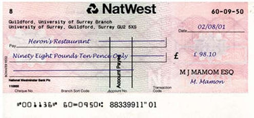 Paying by cheque