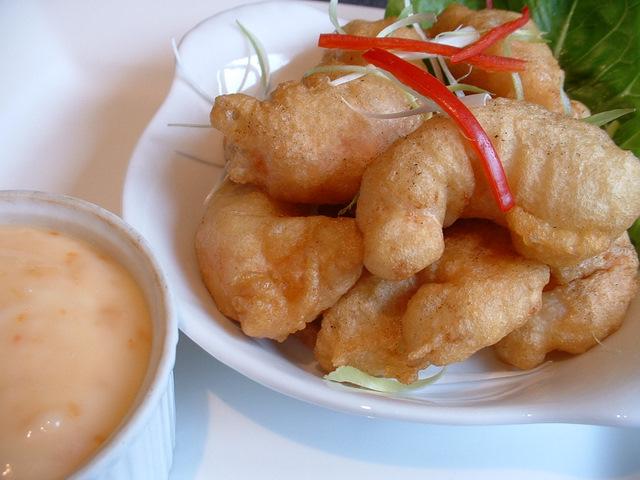 King prawns in tempura batter