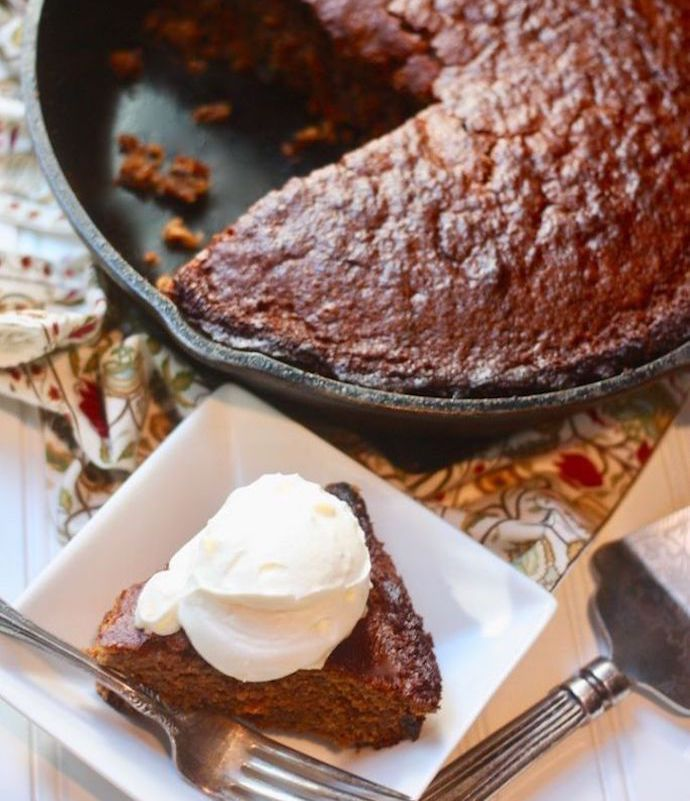 Old-Fashioned Gingerbread Cake With Apple Brandy Whipped Cream