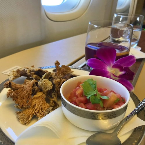 tg-thai-airways-first-class-review-747-tokyo-japan-blogger-sponsor-seat-salsa-snack-mushroom-violet-bliss
