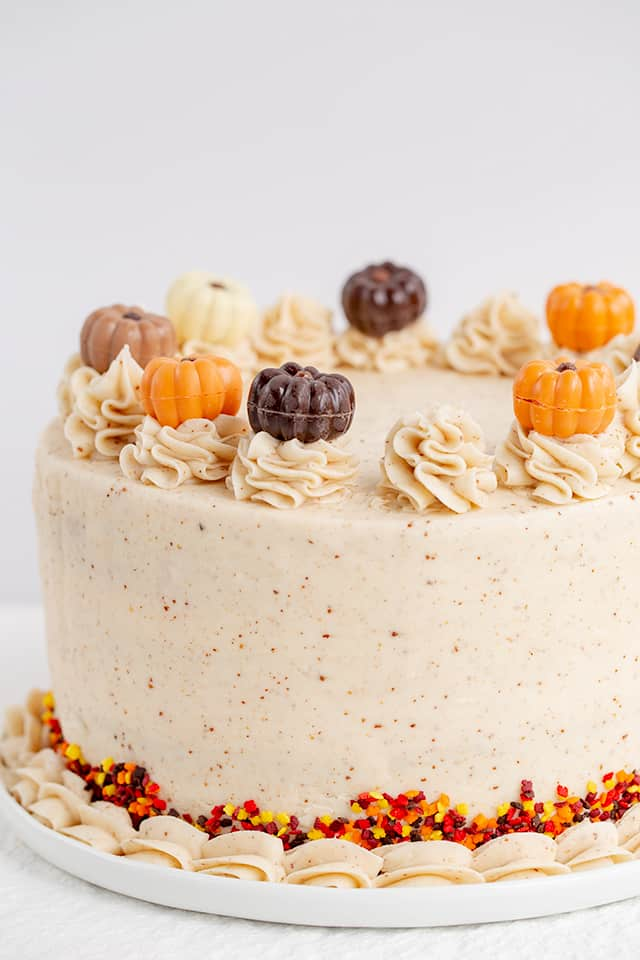 showing left side of pumpkin spice cake with shell border, sprinkles, and white serving plate