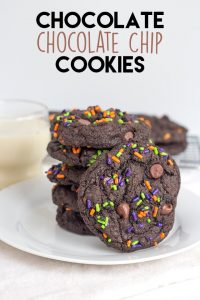 Chocolate Chocolate Chip Cookies - Chewy double chocolate chip cookies dolled up with some festive sprinkles!