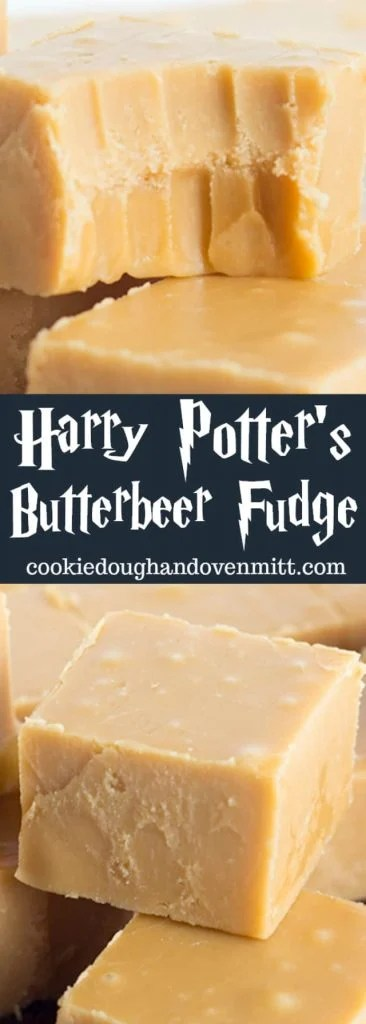 Close up of butterbeer fudge for pinterest