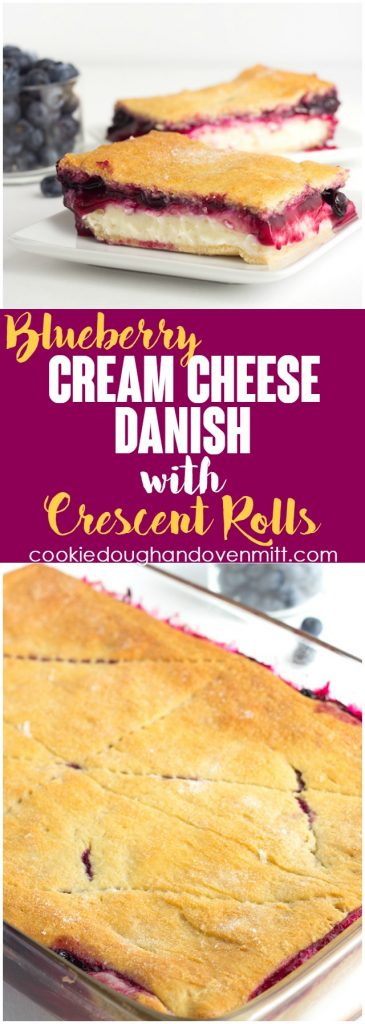 Blueberry Cream Cheese Danish with Crescent Rolls - Need a dessert that will feed a crowd? This blueberry cream cheese danish with crescent rolls is perfect! There's a fresh blueberry filling loaded on top of a cheesecake and sandwiched between crescent rolls!