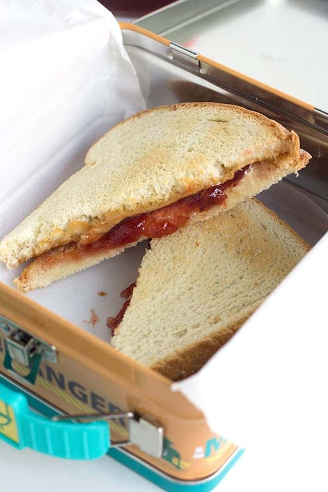 Toasted Peanut Butter and Jelly Sandwich in a small lunch box