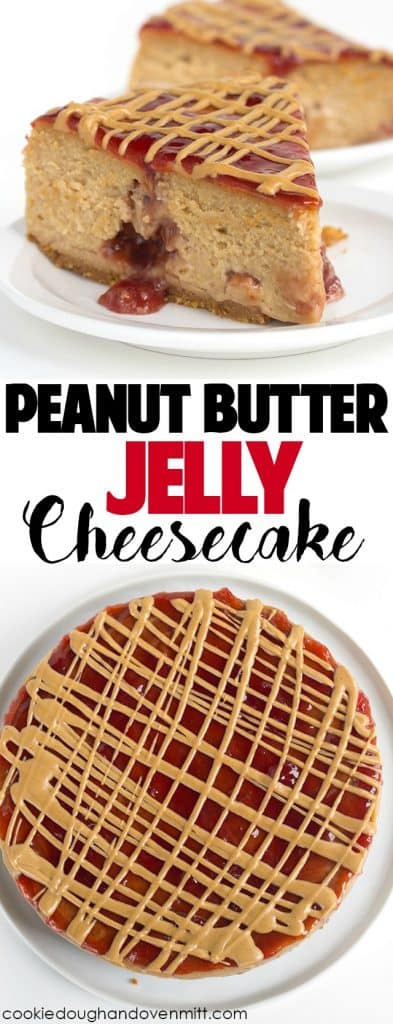 Peanut Butter and Jelly Cheesecake - rich, peanut butter cheesecake with pockets of jam throughout it! Jazz the top up with jelly and a drizzle of peanut butter!