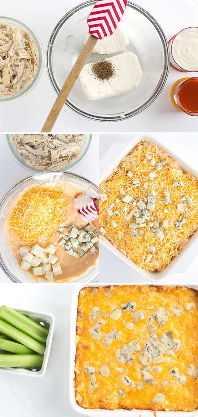 photo collage of images showing how to make an easy Buffalo chicken dip recipe