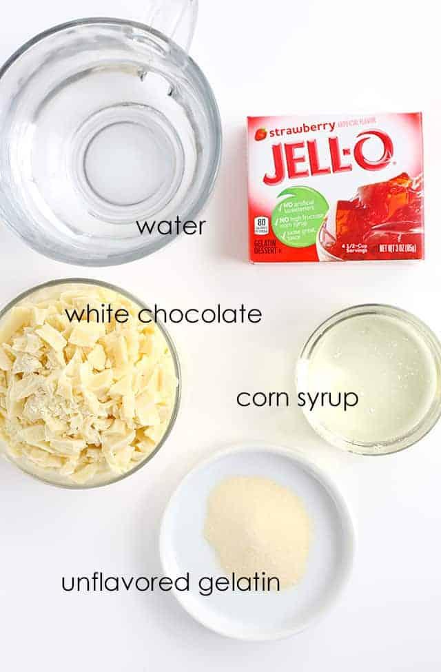 ingredients to make Jell-o Mirror Glaze Cake