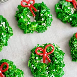 Christmas Wreath Cookies on parchment paper