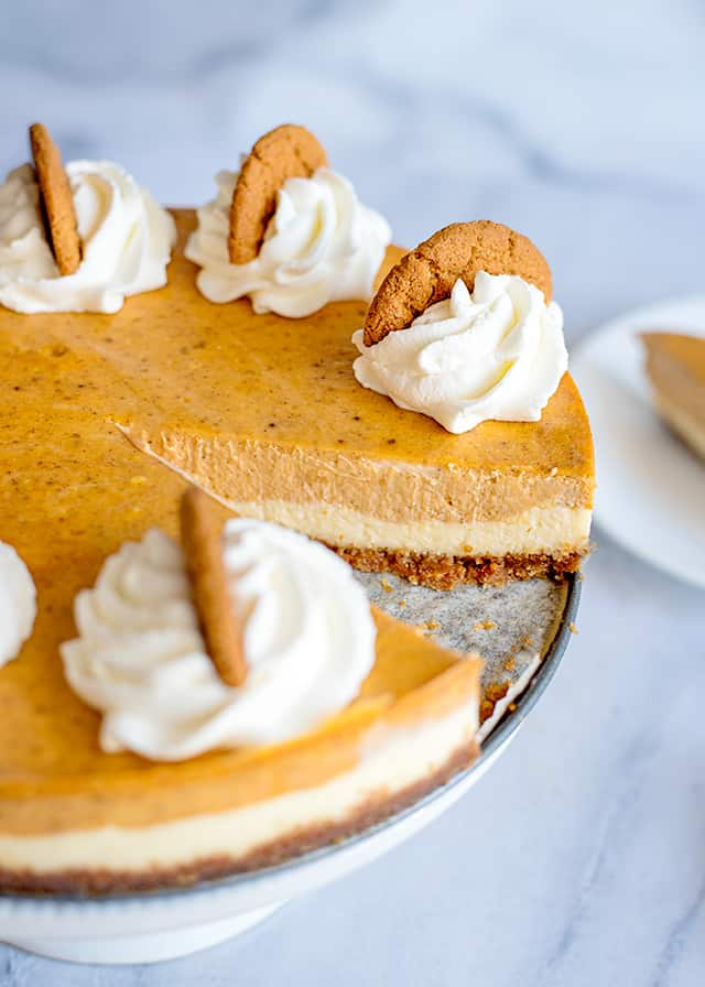 slice missing from double layer pumpkin cheesecake