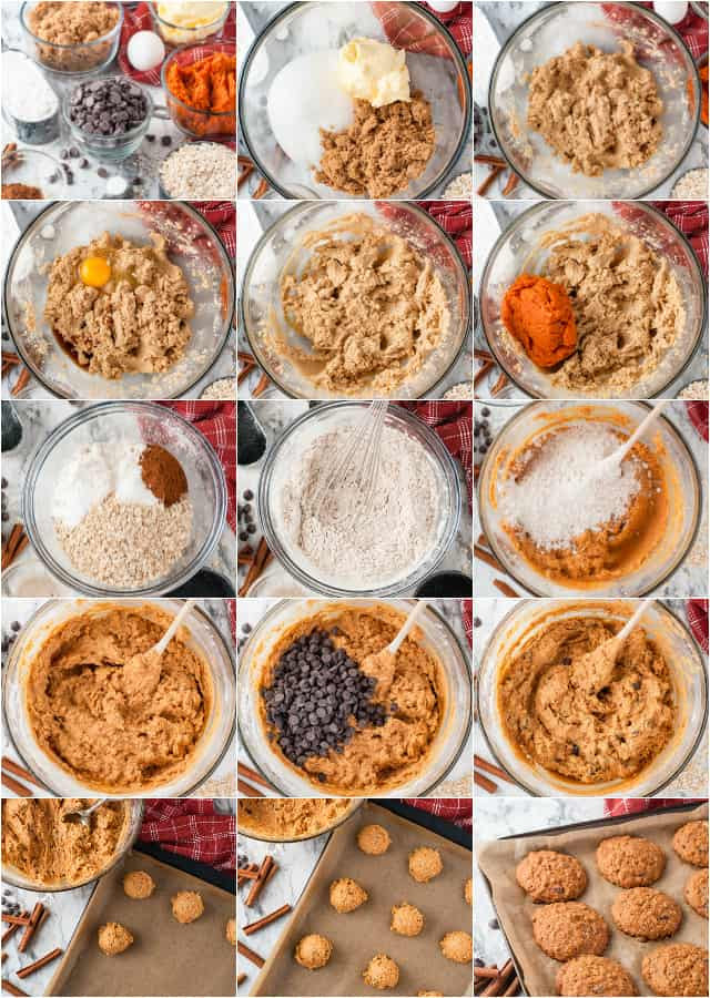 collage of photos on how to make pumpkin oatmeal chocolate chip cookies