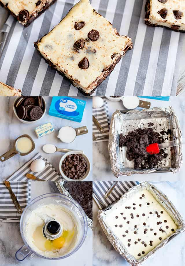step-by-step collage on how to make eggnog cheesecake bars