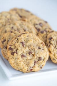 white rectangle plate of doubletree cookies