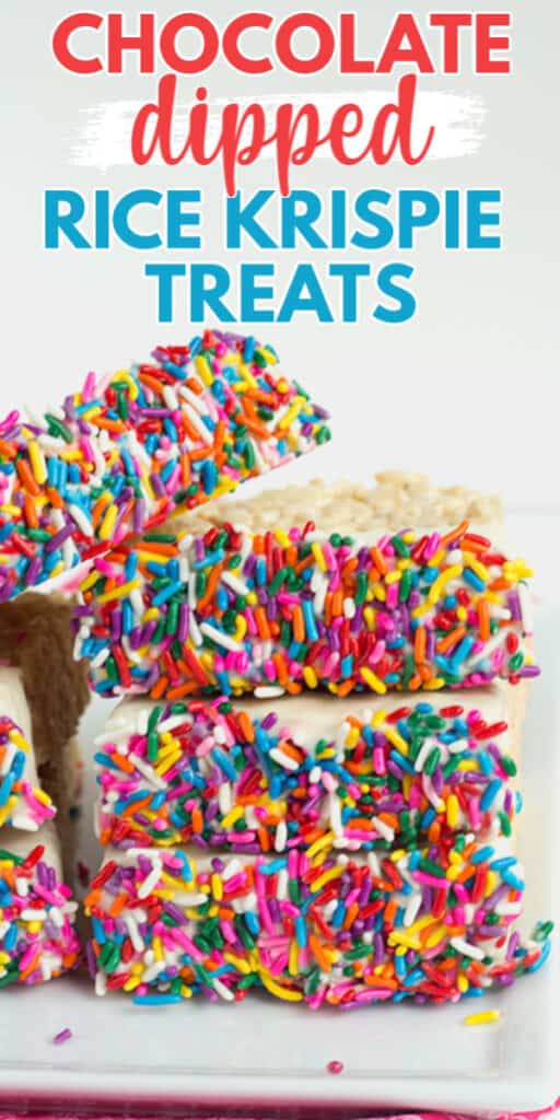 close up of chocolate dipped rice krispie treats with text at the top