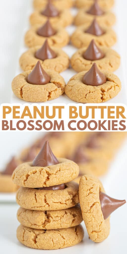 collage for pinterest of peanut butter blossoms photos with the title in text in the center