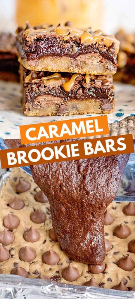 pinterest collage of stacked brookie bars and brownie batter being poured on top of kisses and cookie dough with text in the center
