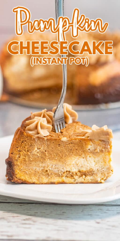 zoomed in image of pumpkin cheesecake on a white plate with a fork in it and text at the top
