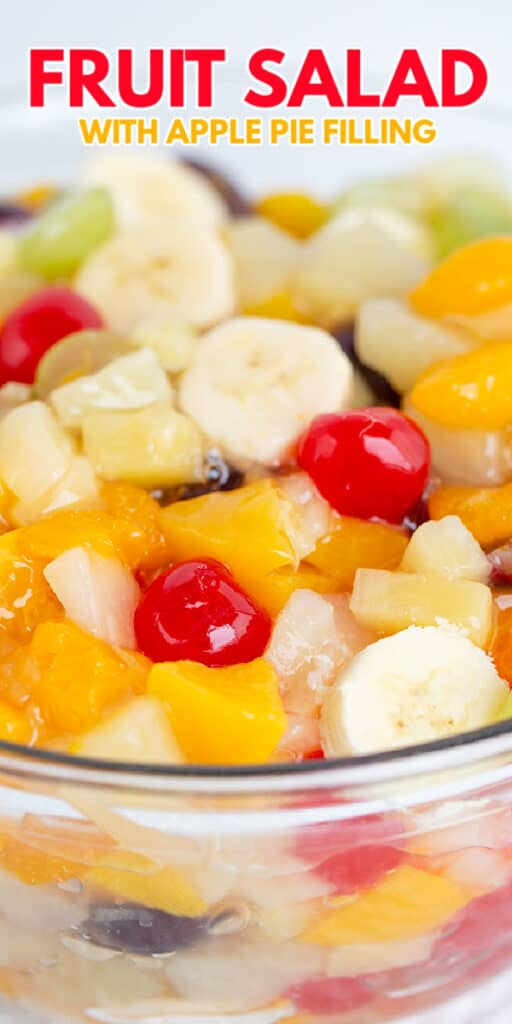 zoomed in image of a bowl of fruit salad with recipe name at top