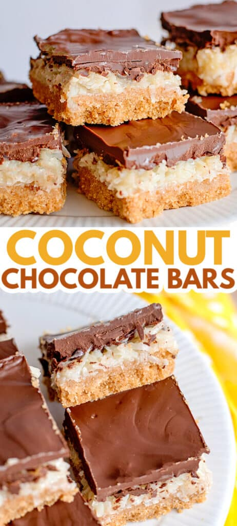 pinterest collage of a stack of coconut bars and a bar propped against another so the side of the bar is facing up with text in the middle of collage