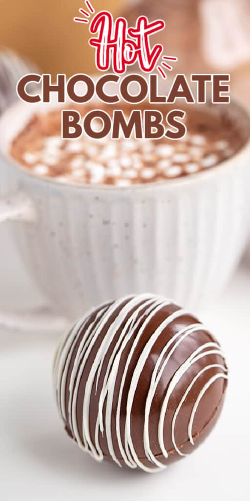 zoomed in photo of hot chocolate bomb with recipe name in text at the top