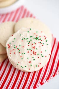 sugar cookies on a linen with a white background