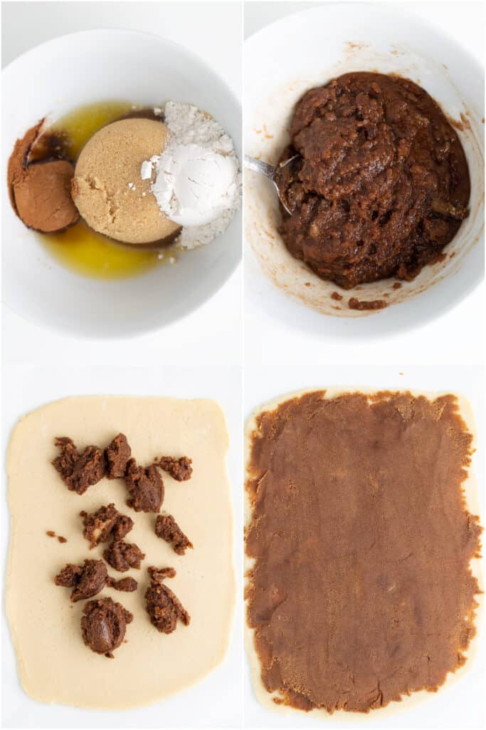 collage showing how to make and add the filling to the cookie dough