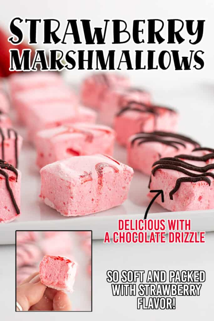 zoomed in photo of marshmallows with recipe name at the top and some text and arrows