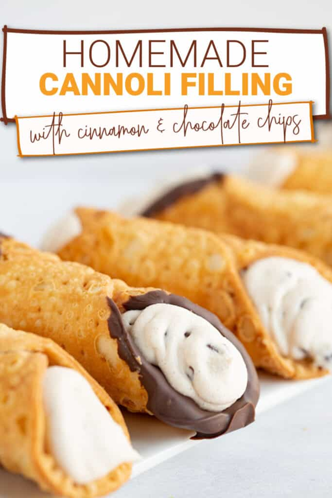 close up of the filled cannoli shells on a white surface with the recipe name in text at the top