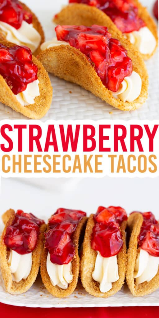 close up of a cheesecake taco on a white surface with text for the recipe name in the middle and the tacos lined up on a white cutting board with a red linen under it on the bottom image
