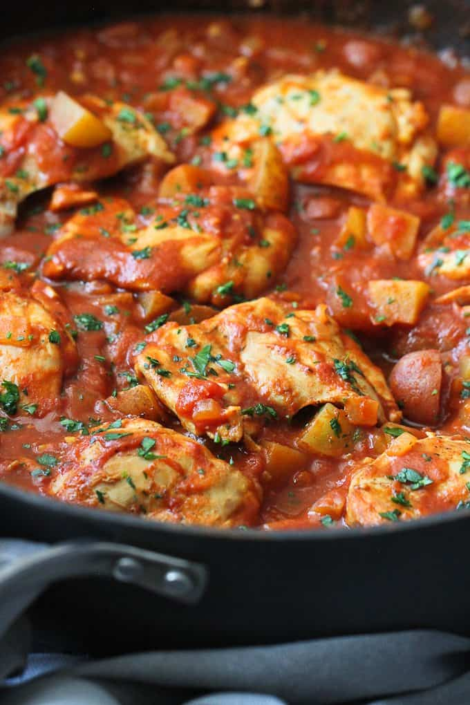 One-Pot Curry Tomato Chicken & Potatoes - Cookin Canuck