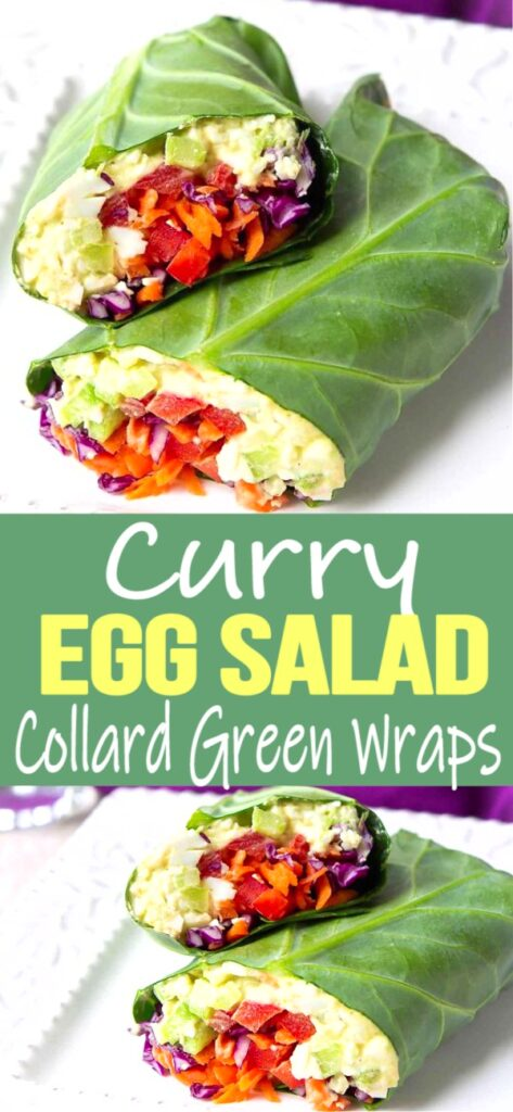 These collard green wraps are a fantastic way to serve lightened-up curry egg salad. Packed full of veggies! 152 calories and 0 Weight Watchers SP   Vegetarian   Recipes   Low Carb   Meal Prep
