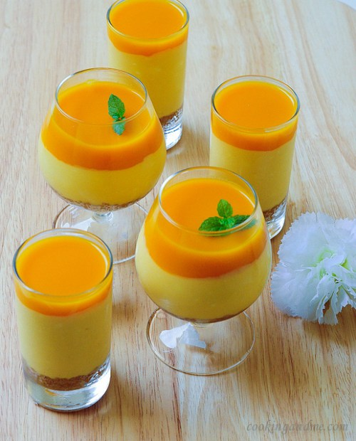 Eggless No-Bake Mango Cheesecake Recipe