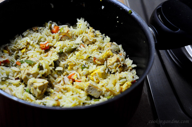 Stir-fried tofu with vegetables and egg fried rice