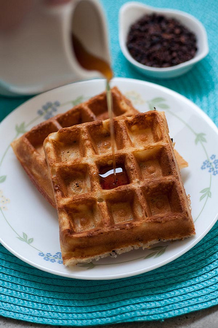crispy waffles with cacao nibs
