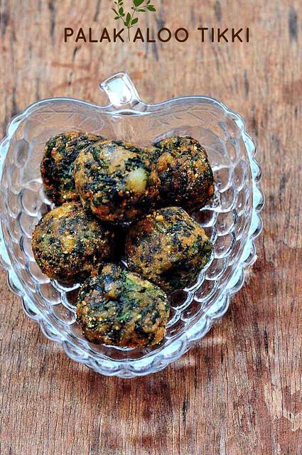 palak aloo tikki-spinach potato cutlet recipe