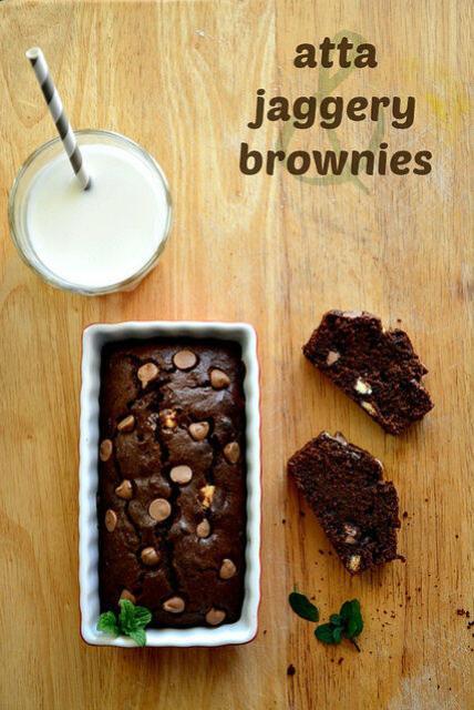 atta jaggery brownies-whole wheat brownies recipe