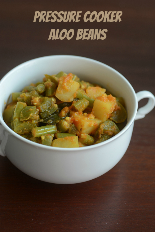 aloo beans recipe, how to make pressure cooker aloo beans