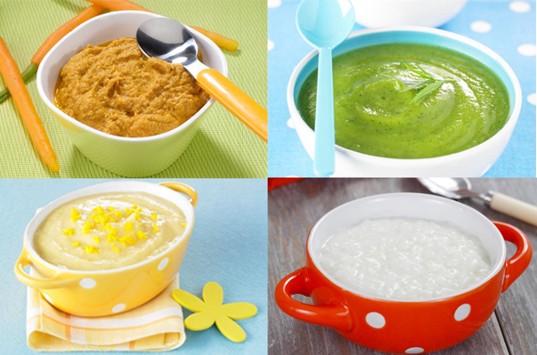 Sample menu for a baby from 4 to 8 months old  Cooking