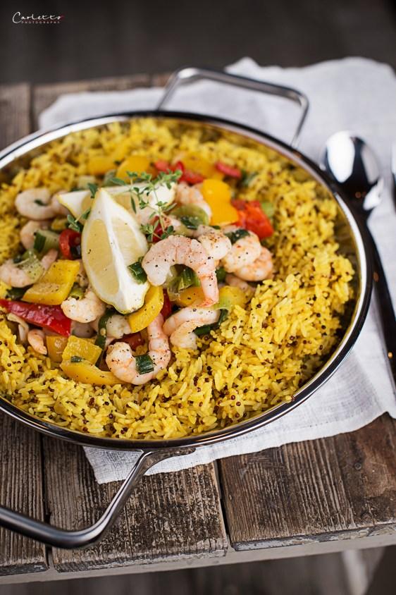 Shrimps mit Gemüse und Reis